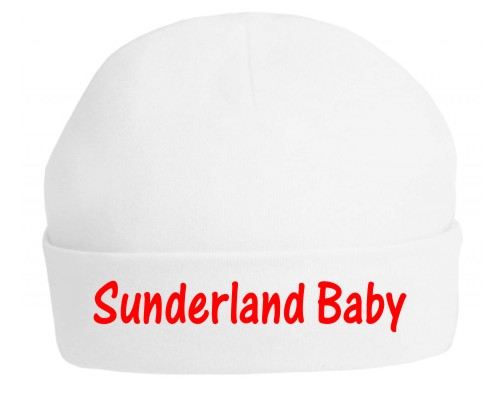 This is a top quality 100% white cotton hat professionally printed in red with Sunderland Baby. Printed using soft vinyl which will not crack or fade