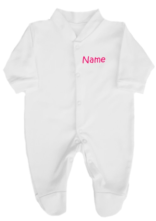Babygrow personalised on the left breast with baby's name. Available in a % of text colours. Written in soft vinyl print which will not crack or fade