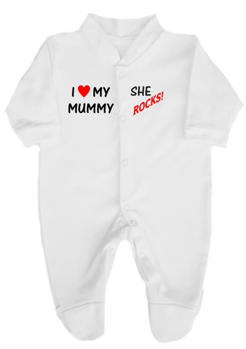 This 100% cotton white babygrow will make a lovely baby gift. Printed as shown with I love my Mummy... She ROCKS! Choice of print colours