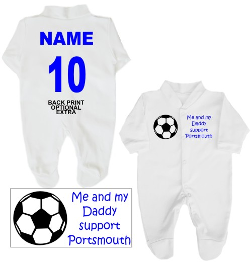 Football Babygrow printed on the front with a football and Me and my Daddy support Portsmouth. If you prefer we can change Daddy to another name.