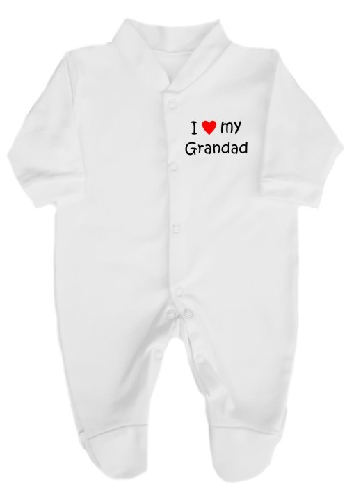 "This lovely baby's babygrow sleepsuit is made with easy fitting and secure press-stud fastenings. Printed ""I love (red heart) my Grandad""."