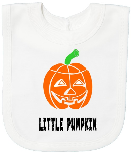 """Halloween themed bay's bib printed with the words """"Little Pumpkin"""". A fully machine washable over the head style white bib. 100% soft cotton"""