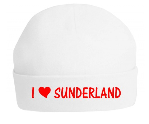 This is a top quality 100% white cotton hat professionally printed with the slogan I Love Sunderland. Printed in red for Sunderland's team colours.