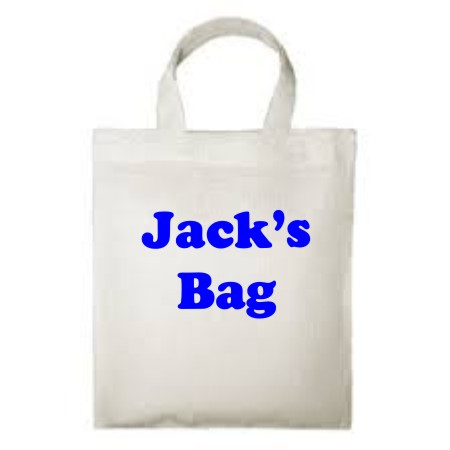 A reuseable 100% cotton children's Tote Bag, printed with your child's name.