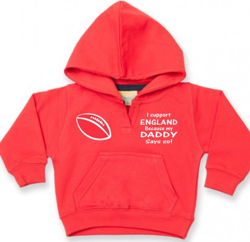 "This is a lovely soft baby's hoodie or hooded sweatshirt printed ""I support England because my Daddy says so!"" For babies aged 6/12 months."