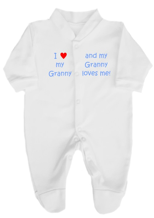 """This 100% cotton white babygrow will make a lovely baby gift. Printed as shown above with """"I love my Granny"""" """"and my Granny loves me""""."""