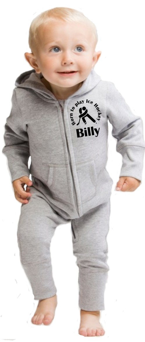 """Lovely Babybugz supersoftIck HockeyAll in One or Onesie printed """"Born to play Ice Hockey"""" andbaby's name.Choice of print colours."""