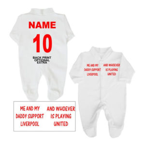 Two Teams Football Babygrows