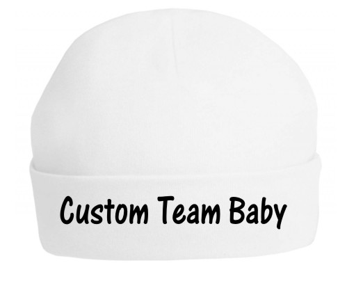 If you want to print your own team hat then choose this top quality baby's hat professionally printed with the slogan (Team Name) Baby.