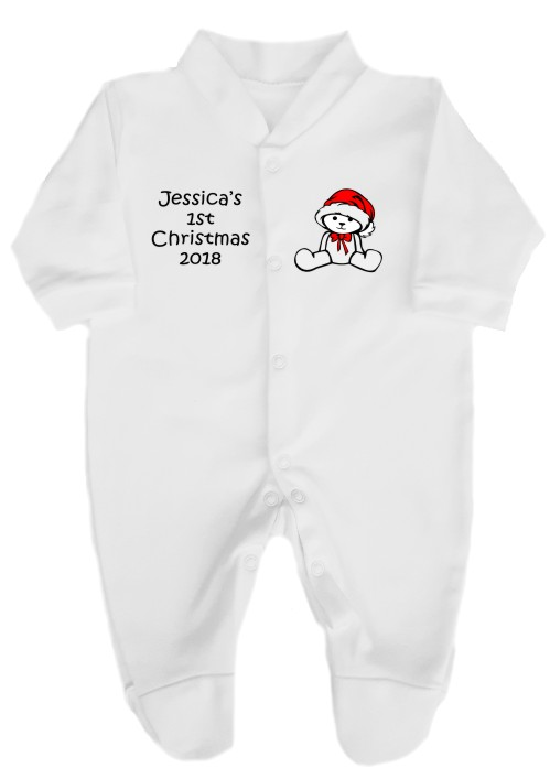 This babygrow comes printed with a cute christmas teddy on the right and baby's name and 1st Christmas and the year on the left. A great keepsake idea