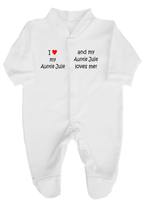 "This 100% cotton white babygrow will make a lovely baby gift. Printed as shown above with ""I love my Auntie"" ""and my Auntie loves me""."