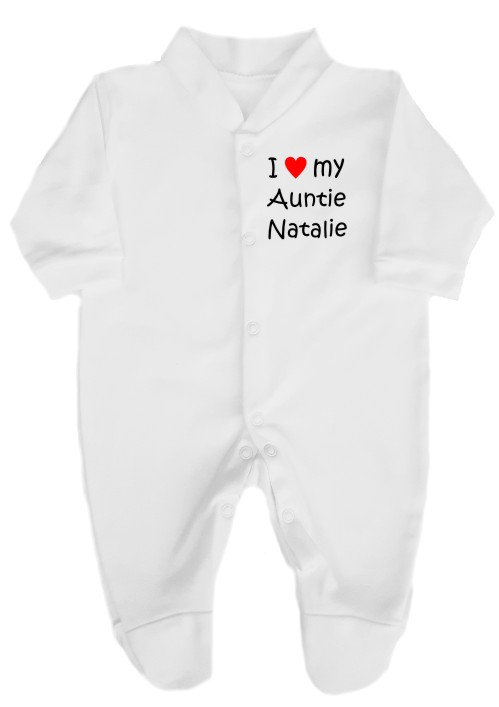 "This babygrow sleepsuit is snug with easy fitting and secure press-stud fastenings. Printed ""I love (red heart) my Auntie"", her name can also be added."