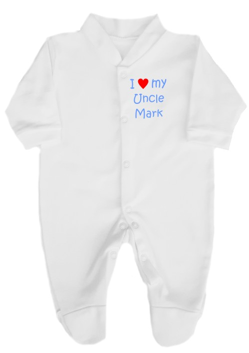 This 100% cotton white babygrow will make a lovely baby gift. Printed as shown above with I love my Uncle and personalised with his name.