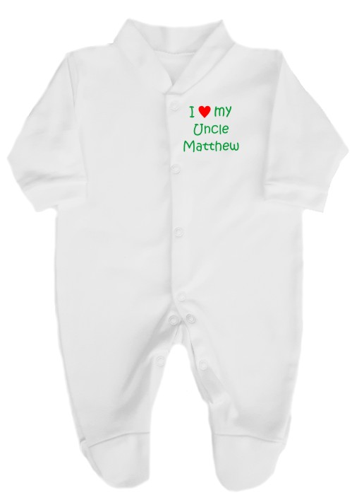 "This lovely easyfit babygrow sleepsuit. Printed ""I love (red heart) my Uncle"", his name can also be added. Fully machine washable"