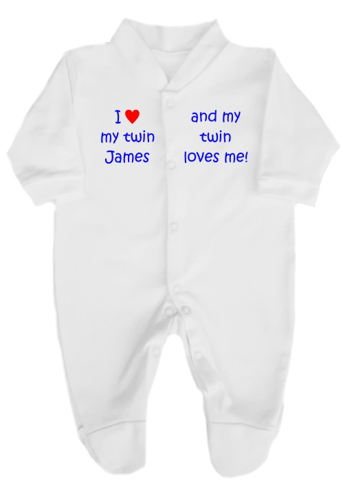 "This 100% cotton white babygrow will make a lovely baby gift. Printed as shown above with I love my twin and his or her name......and my twin loves me""."