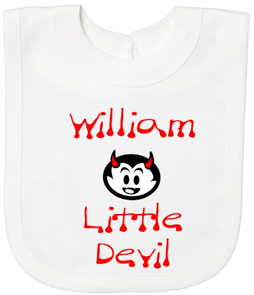 Halloween baby's bib personalised with baby's name and featuring a cute devil face and the words Little Devil. Printed in red and black