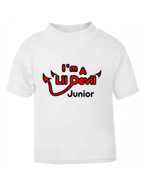 Wouldn't your child look great in this Halloween-themed Lil Devil t-shirt? A personalised white t-shirt printed in red and black.