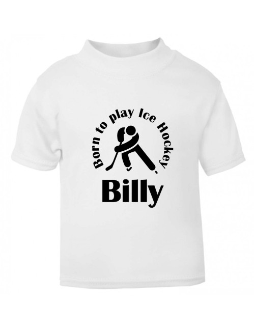 For the ice hockey enthusiasts, this babies and Childrens t-shirt is printed with a ice hockey player, Born to play ice hockey and your child's name.