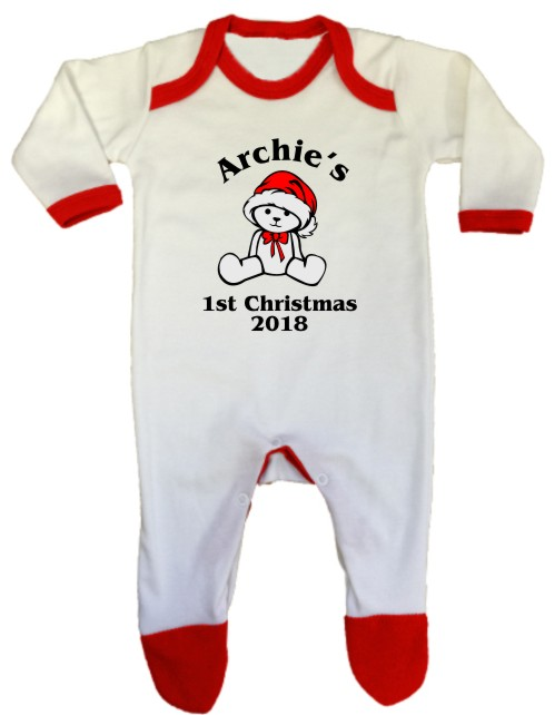 An adorable machine washable, printed baby's 1st Christmas in christmas colours. Printed with a teddy bear design and personalised with baby's name.